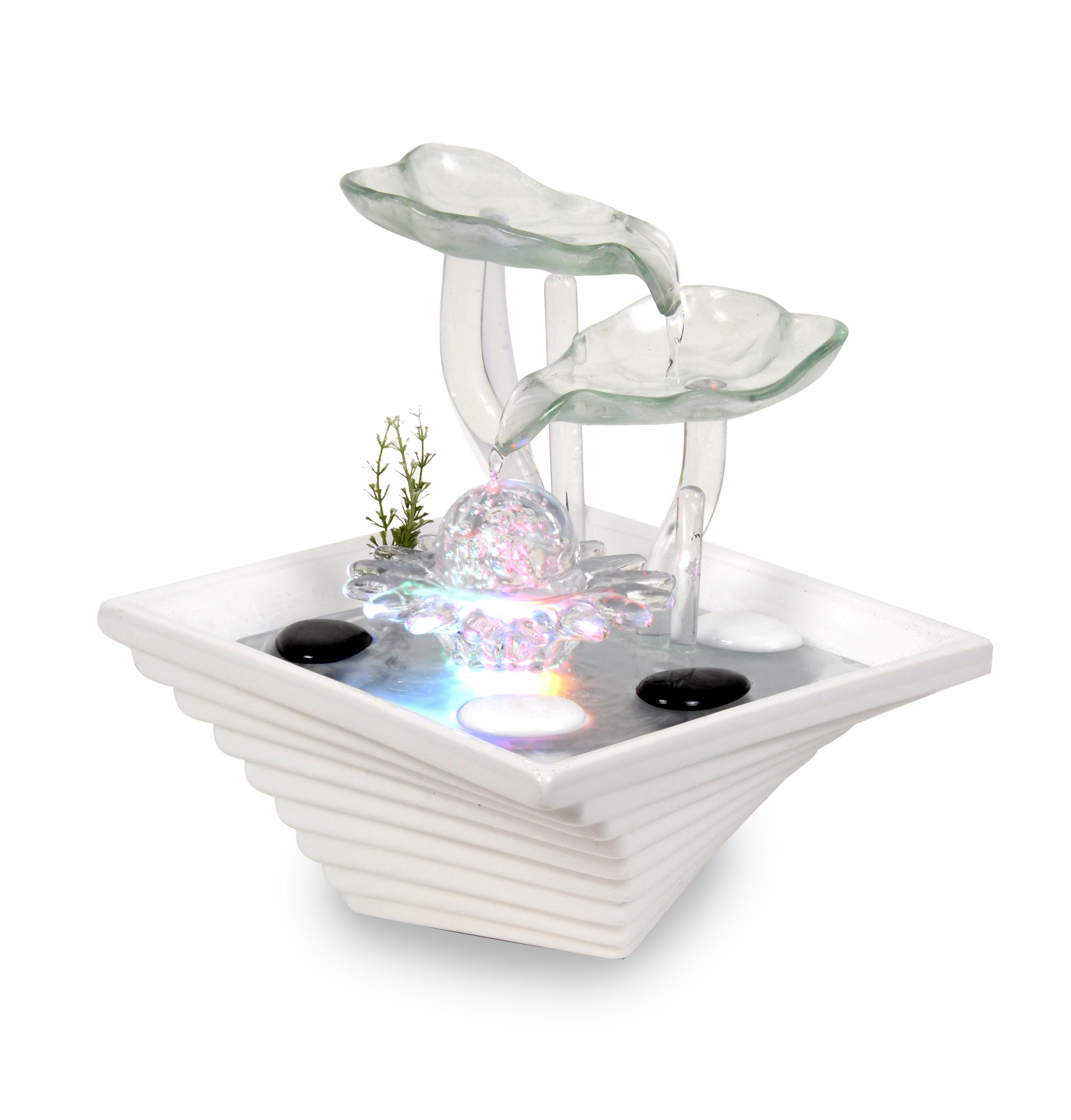 WeiVa Feng Shui Keramik   Glas Zimmerbrunnen Mit LED Beleuchtung 220171