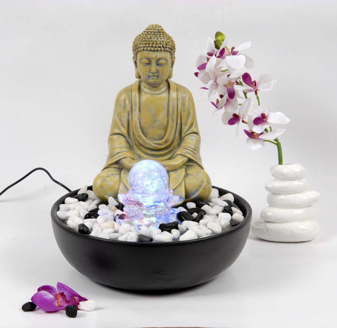 hochwertiger zimmerbrunnen im buddha stil und led. Black Bedroom Furniture Sets. Home Design Ideas